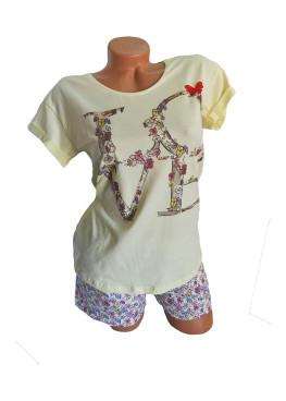 Дамска пижама с къс ръкав и къси панталонки Affect Love в жълто
