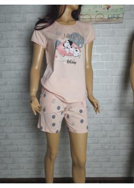Дамска пижама с къс ръкав и късо долнище Иватекс 3460 в праскова