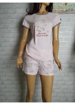 Дамска пижама с къс ръкав и късо долнище Иватекс 3464 в розово