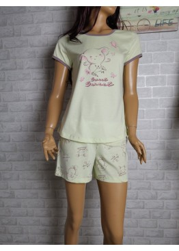 Дамска пижама с къс ръкав и късо долнище Иватекс 3464 в жълто