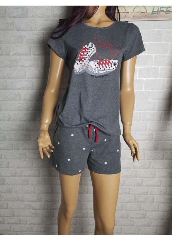 Дамска пижама с къс ръкав и късо долнище Иватекс 3468 сив