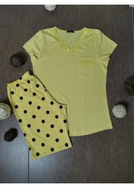 Дамска пижама с къс ръкав и късо долнище Иватекс 3469 в жълто