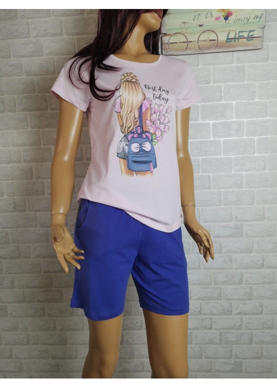 Дамска пижама с къс ръкав и късо долнище Иватекс 3473 розов