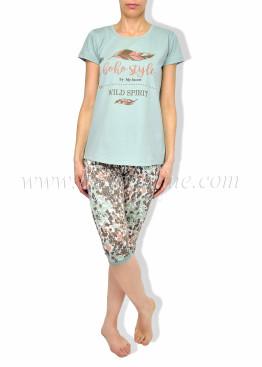 Дамска пижама с къс ръкав и клин 6101