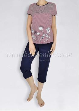 Дамска  пижама с къс ръкав на червени райета Иватекс  6015