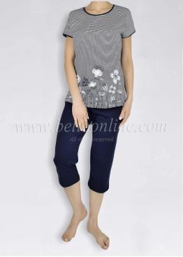 Дамска  пижама с къс ръкав на райета Иватекс  6013