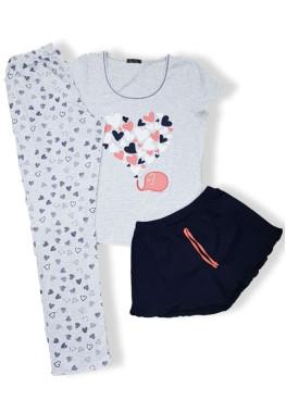 Дамска пижама с къс ръкав от 3 части Иватекс 7603