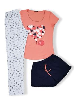 Дамска пижама с къс ръкав от 3 части Иватекс 7604