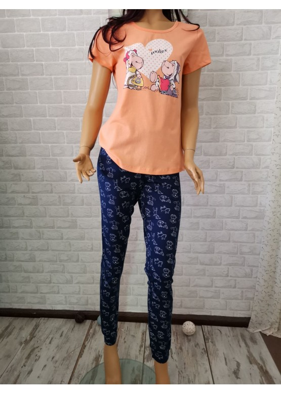 Дамска пижама с къс ръкав с овце Иватекс 3291 в оранжево