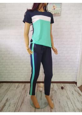 Дамска пижама с къси ръкави и дълго долнище Иватекс 3306 в мента