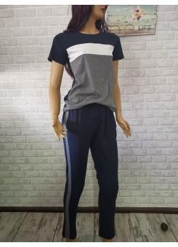 Дамска пижама с къси ръкави и дълго долнище Иватекс 3306 в сиво