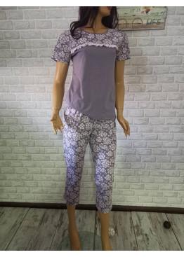Дамска пижама с къси ръкави и седем осми долнище Иватекс 3307