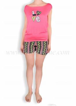 Дамска  пижама с къси шорти 6065