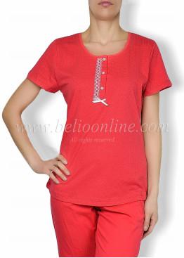 Дамска  пижама с копчета на точки Иватекс  6062