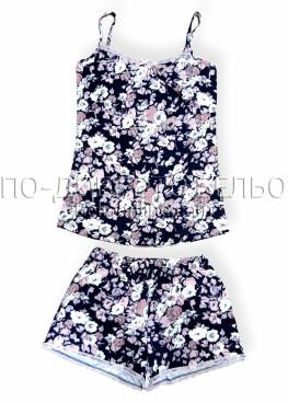 Дамска пижама с потник с тънки презрамки и къси панталонки Иватекс 8023