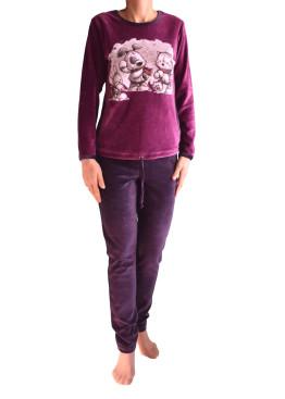 Дамска плюшена дебела пижама IvaTex 5986