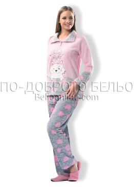Дамска пухкава плюшена пижама Dika 6901
