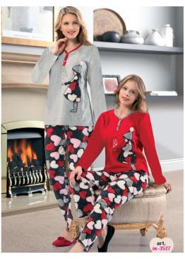 Дамска зимна мека пижама с копчета от полар Dika 3527 на сърца с момиченце в светло сиво
