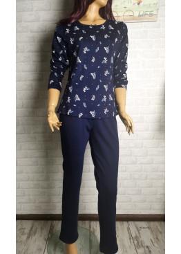 Дамска зимна памучна пижама интерлог в тъмно синьо Иватекс 3553