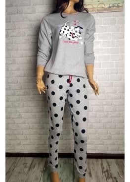 Дамска зимна памучна пижама с далматинци в светло сиво Иватекс 3548