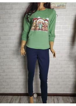 Дамска зимна памучна пижама с мечета в зелени Иватекс 3548