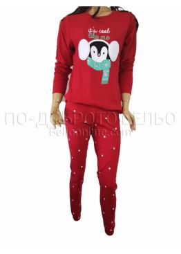 Дамска зимна пижама интерлог с дълъг ръкав и долнище с маншет Иватекс 3262 в червено с Пингвин