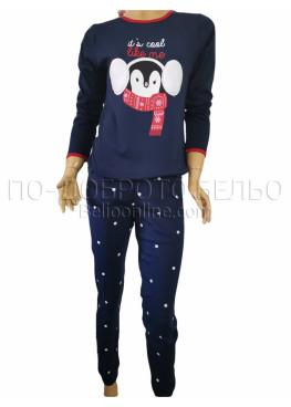 Дамска зимна пижама интерлог с дълъг ръкав и долнище с маншет Иватекс 3262 в тъмно синьо с Пингвин