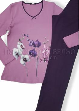 Дамска зимна пижама Иватекс с цветя 7561