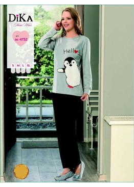 Дамска зимна пижама от памук интерлог Dika 4752 с пингвинче в светло сиво