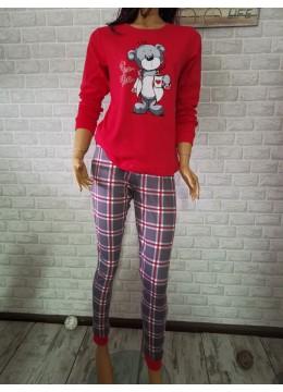 Дамска зимна пижама от памук интерлог Иватекс 3411 в червено каре с мече