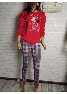 Дамска зимна пижама от памук интерлог Иватекс 9433 с Мини Маус в черно каре