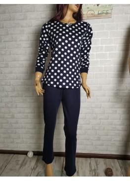 Дамска зимна пижама от памук интерлог Иватекс 9434 в тъмно синьо на точки