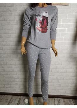Дамска зимна пижама от памук интерлог Иватекс 9435 във светло сиво
