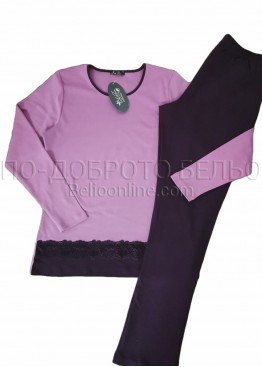 Дамска зимна пижама от памук интерлог украсена с дантела Иватекс 3265 в лилаво