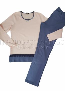 Дамска зимна пижама от памук интерлог украсена с дантела Иватекс 3265 в праскова