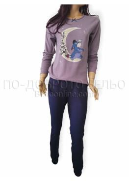 Дамска зимна пижама от плътен памук интерлог Иватекс 3253 в лилаво с магаренето Йори