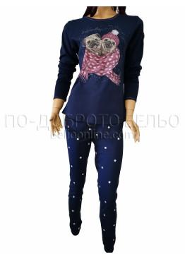 Дамска зимна пижама от плътен памук интерлог Иватекс 3258 в тъмно синьо с кученца Мопс