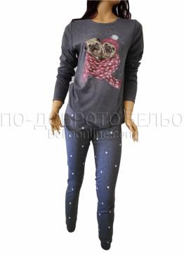 Дамска зимна пижама от плътен памук интерлог Иватекс 3258 в тъмно сиво с кученца Мопс