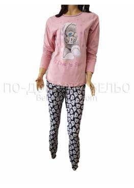 Дамска зимна пижама с дълъг ръкав и долнище с маншет Иватекс 3264 в цвят праскова с Мечо