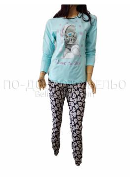 Дамска зимна пижама с дълъг ръкав и долнище с маншет Иватекс 3264 в свтло синьо с Мече