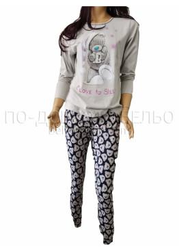 Дамска зимна пижама с дълъг ръкав и долнище с маншет Иватекс 3264 в свтло сиво с Мече