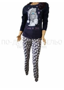 Дамска зимна пижама с дълъг ръкав и долнище с маншет Иватекс 3264 в тъмно синьо с Мечо