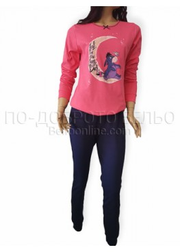 Дамска зимна пижама с дълъг ръкав интерлог Иватекс 3253 в розово с магаренето Йори