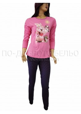 Дамска зимна пижама с дълъг ръкав Иватекс 3263 в розово с Зайче