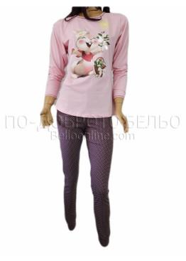 Дамска зимна пижама с дълъг ръкав Иватекс 3263 в светло розово с Зайче