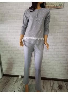 Дамска зимна пижама с копчета и дантела Иватекс 3403 в сиво на сърца