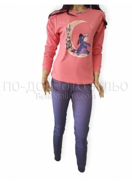Дамска зимна пижама с маншет от памук интерлог Иватекс 3253 в праскова с магаренето Йори