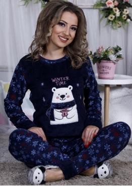 Дамскa зимна пухена пижама от велсофт и полар Мечо 9986