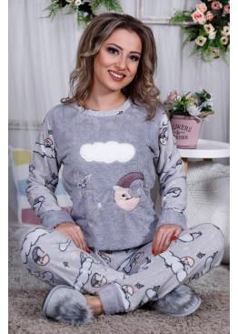 Дамскa зимна пухена пижама от велсофт и полар Облаче 9995
