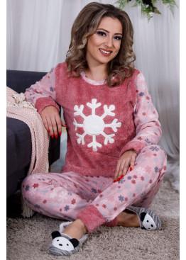 Дамскa зимна пухена пижама от велсофт и полар Снежинка 9988